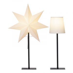 Weiße Tischlampe mit 2 verschiedenen Schirmen