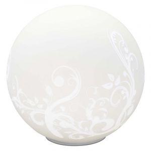 Weiße Tischlampe Meije, Glas, Ein/Ausschalter am Kabel
