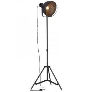 Schwarze Stativ Stehlampe Jamiena, Metall, Ein/Ausschalter am Kabel