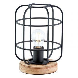 Industrie Tischlampe Taede, schwarz, Holz