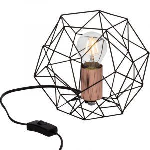 Ländliche Tischlampe Kaeleigh, schwarz, Metall, Ein/Ausschalter am Kabel