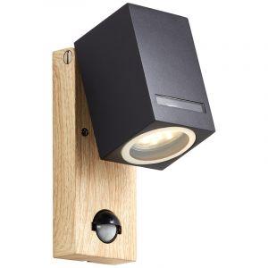 Moderne Außenwandleuchte mit Bewegungsmelder Charis, schwarz, Metall, IP44