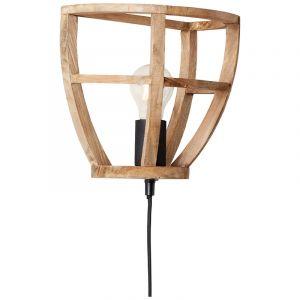 Industrielle Wandleuchte Amy, braun, Holz