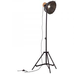 Industrie Stehlampe Zeynep, schwarz, Metall, Ein/Ausschalter am Kabel