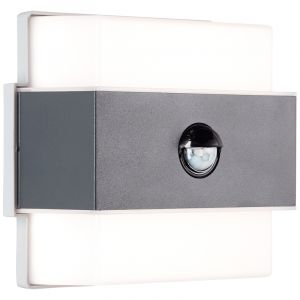 Moderne Außenwandleuchte mit Bewegungsmelder Birol, anthrazit, Metall, 7,5w 4000K (Weiß) integriert LED
