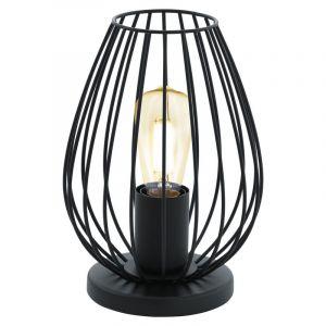 Schwarze Tischlampe Kitana, Metall, modern, Ein/Ausschalter am Kabel