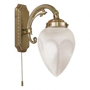 Bronze Wandleuchte Esca, Glas, klassisch, Mit Pull-Schalter