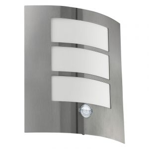 Silberne Außenwandleuchte mit Bewegungsmelder Elyne, Kunststoff, modern