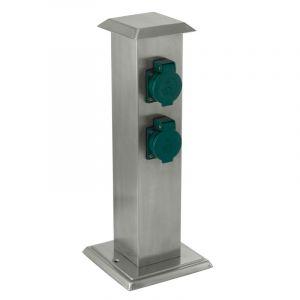 Silberne Außensteckdose Gwendolyn, Kunststoff, IP44
