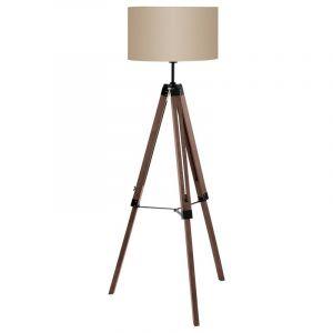 Braune Stativ Stehlampe Rile, Holz, industrie, Ein/Ausschalter am Kabel