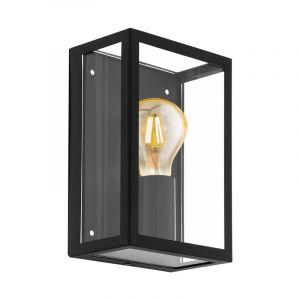 Schwarze Außen Wandleuchte Alihan, Glas, IP44