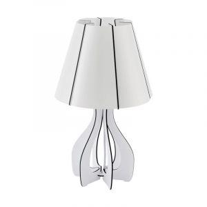 Weiße Tischlampe Amarins, Kunststoff, retro, Ein/Ausschalter am Kabel