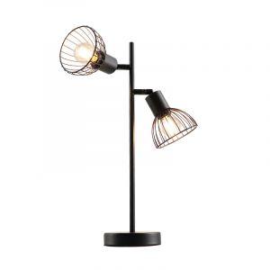 Industrielle Tischlampe Bram, schwarz, Metall, Mit Schalter