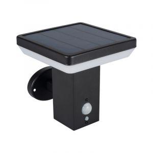 Moderne Außenwandleuchte auf Solarenergie Gian, Metall, schwarz, Mit Bewegungssensor