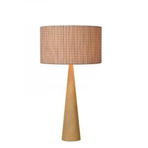 Braune moderne Tischlampe Conos, Holz, Ein/Ausschalter am Kabel