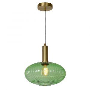 Grüne Pendelleuchte Maloto, Glas, retro