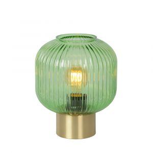 Grüne Tischlampe Maloto, Glas, retro, Ein/Ausschalter am Kabel