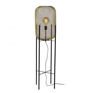 Goldene Stehlampe Mesh, Stahl, vintage, Ein/Ausschalter am Kabel