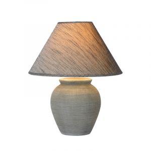 Graue ländliche Tischlampe Ramzi, Keramik, Ein/Ausschalter am Kabel