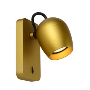 Goldene Wandstrahler Preston, Aluminium, retro, Mit Schalter