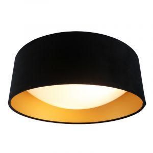 Deckenlampe Dewy aus schwarzem Samt mit goldenem Innen, 40cm