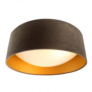 Taupe Samt Deckenlampe Dewy mit goldenem Innen, 40cm