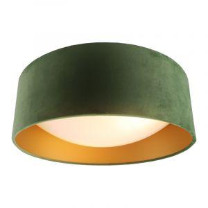 Olivgrüne Samt-Deckenlampe Dewy mit goldenem Innen, 40cm