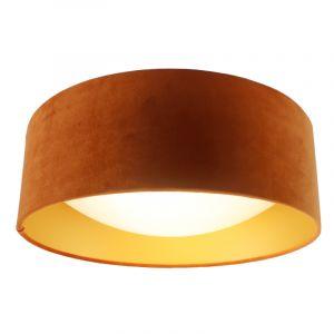 Orangefarbene Samt-Deckenlampe Dewy mit goldener Innen, 40cm