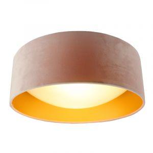 Hellrosa Samt-Deckenlampe Dewy mit goldener Innen, 40cm