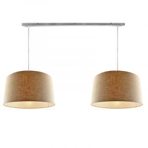 Stahl 2L Pendelleuchte mit Leinen  50cm Lampenschirmen