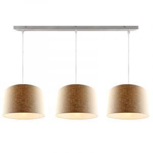 Stahl 3L Pendelleuchte mit Leinen  30cm Lampenschirmen