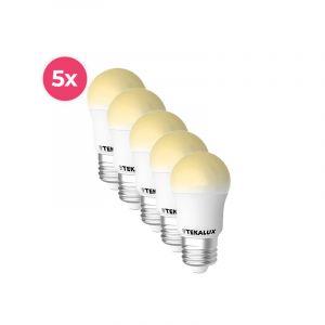 5er Pack Tekalux Horan E27 LED-Kugellampe warmweiß, 4W