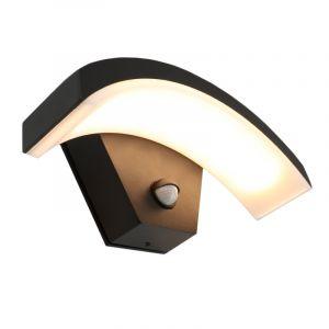 Schwarze Außenleuchte Annemay mit integrierter LED und Bewegungssensor
