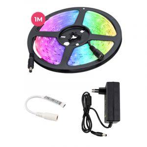 1 Meter 12V RGB LED-Streifen mit Schnurschalter, 30 LEDs und p 7.2W / m