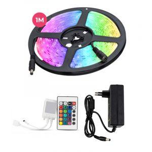 1 Meter wasserabweisendes 12V RGB LED Streifen mit Fernbedienung, 30 LEDs und p 7.2W / m