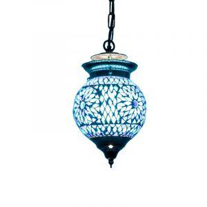 Orientalische Pendelleuchte Nisrin, Mosaik, blau