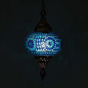 Orientalische Pendelleuchte Aicha, Mosaik, blau