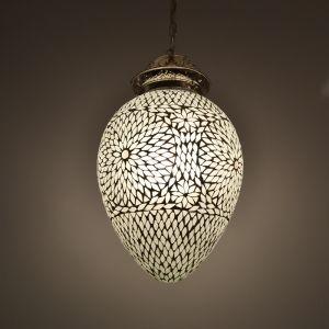 Orientalische Pendelleuchte Isa, Mosaik, weiß
