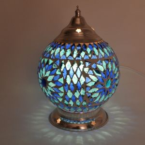 Orientalische Tischlampe Sabri, Mosaik, blau