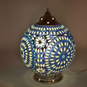 Orientalische Tischlampe Dalil, Mosaik, blau