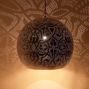 Orientalische Pendelleuchte Alyssa, Metall, weiß