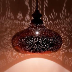 Orientalische Pendelleuchte Zina, Metall, kupfer