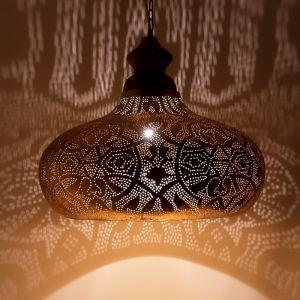 Orientalische Pendelleuchte Zina, Metall, gold