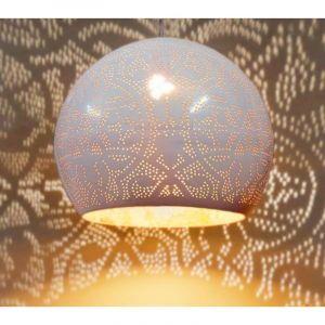 Orientalische Pendelleuchte Kenza, Metall, weiß