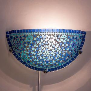 Orientalische Wandleuchte Haja, Mosaik, blau