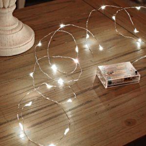 2m silberne Drahtbeleuchtung an Batterie, 100 LEDs, leuchtend weiß