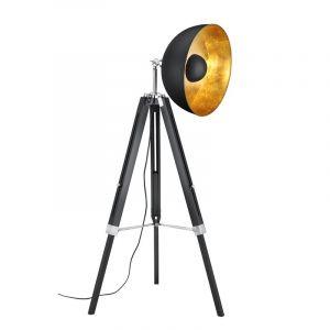 Industrielle Stehlampe Tzippora, Holz, schwarz, Ein/Ausschalter am Kabel