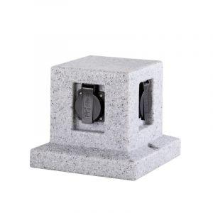 Moderne Außensteckdose Fjelstervang, Stein, grau, IP44