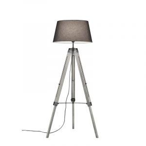 Klassische Stehlampe Axel, Holz, grau, Ein/Ausschalter am Kabel