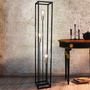 Moderne Stehlampe Fabrice, Metall, schwarz, Ein/Ausschalter am Kabel